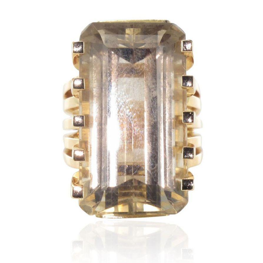 Bague vintage or quartz fumé