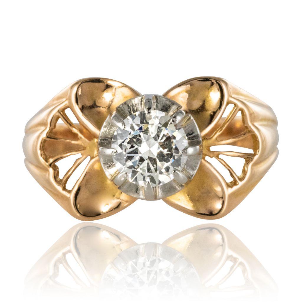 Bague vintage or rose et diamant