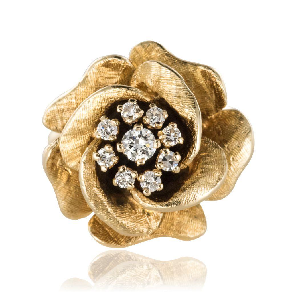 Bague vintage rose diamants