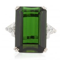 Bague vintage tourmaline verte et diamants