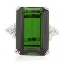 Bague vintage tourmaline verte et diamants