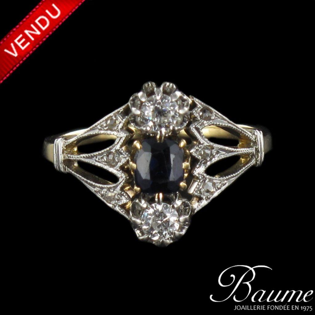 Bague XIXème saphir et diamants