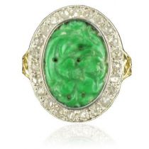Beautiful Antique ring - Jade and Diamonds ring - French Antique Jewelry