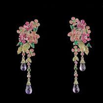Boucles d 'oreilles améthystes saphirs roses grenats verts