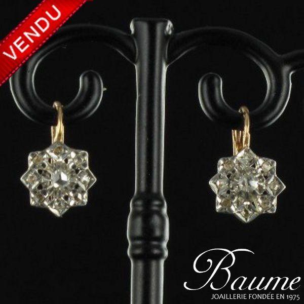 Boucles d 'oreilles anciennes Diamants