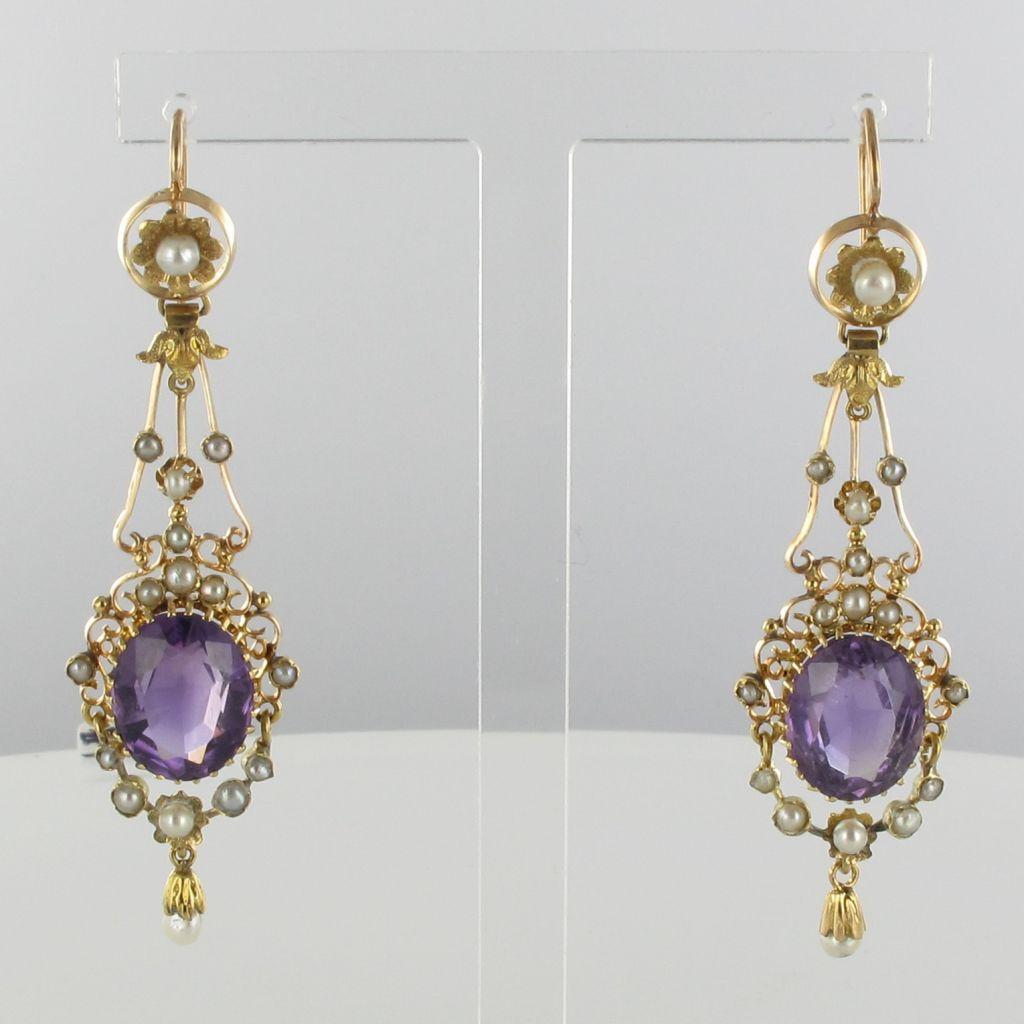 Boucles d 'oreilles anciennes pendantes améthystes et perles fines
