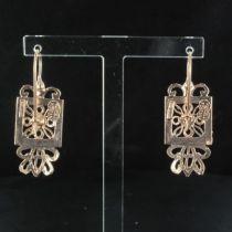 Boucles d 'oreilles carré perles et cabochon