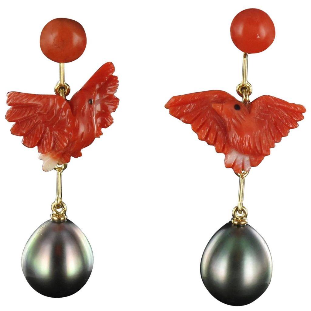 Boucles d 'oreilles colombes Corail et Perles grises