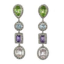 Boucles d 'oreilles Diamants, Améthystes, Péridots, Aigue-marines et Morganites