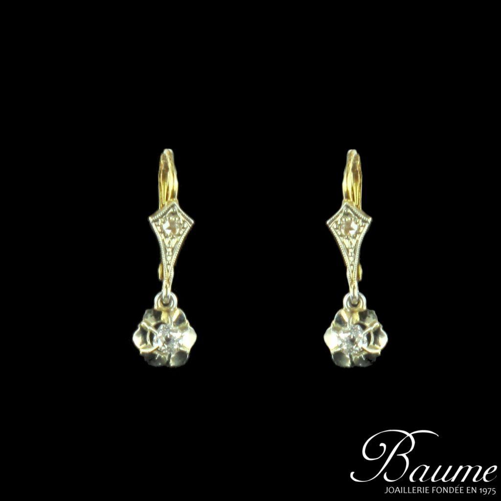 Boucles d 'oreilles diamants anciennes