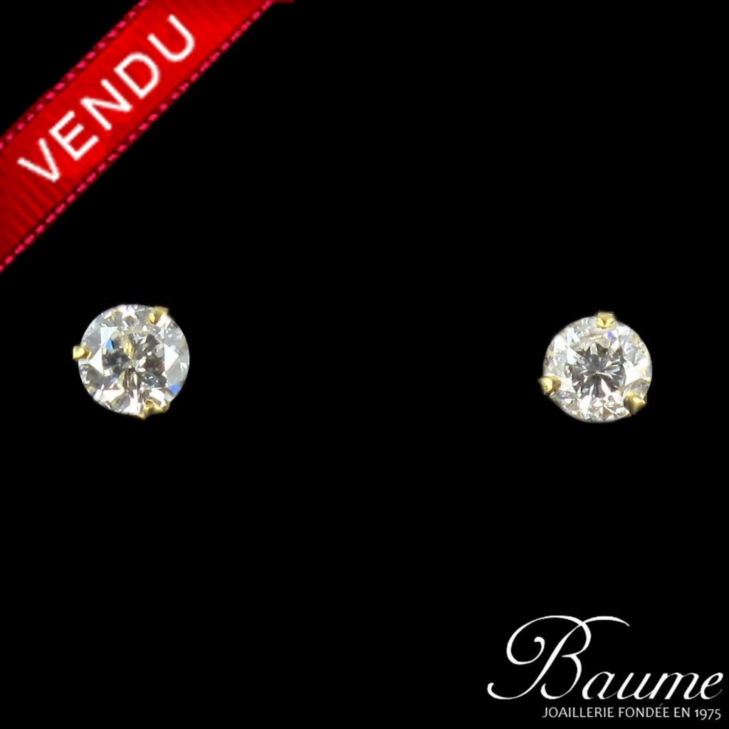 Boucles d 'oreilles diamants en or jaune