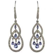 Boucles d 'oreilles Diamants et Tanzanites