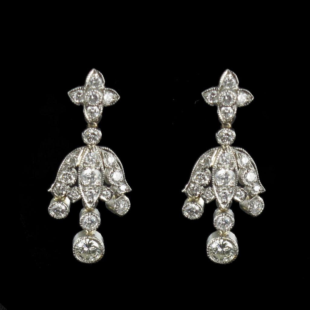 Boucles d 'oreilles Diamants Platine et Or G 1