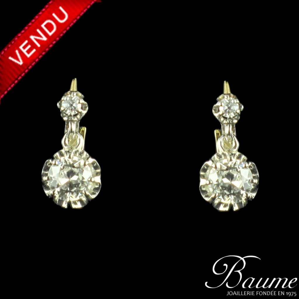 Boucles d 'oreilles diamants trembleuses 1.08 carat