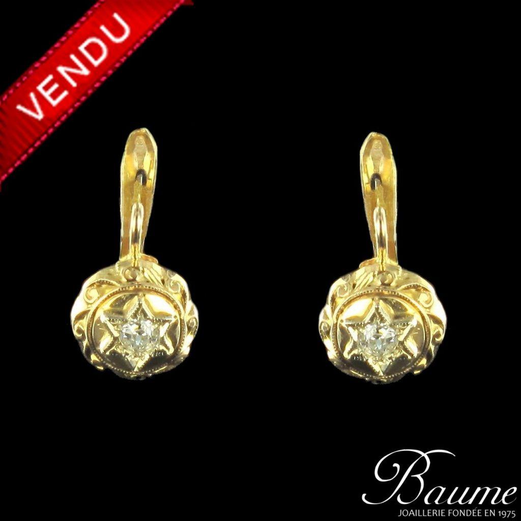 Boucles d 'oreilles dormeuses diamants
