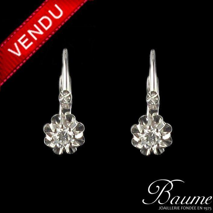 Boucles d 'oreilles dormeuses or blanc diamants