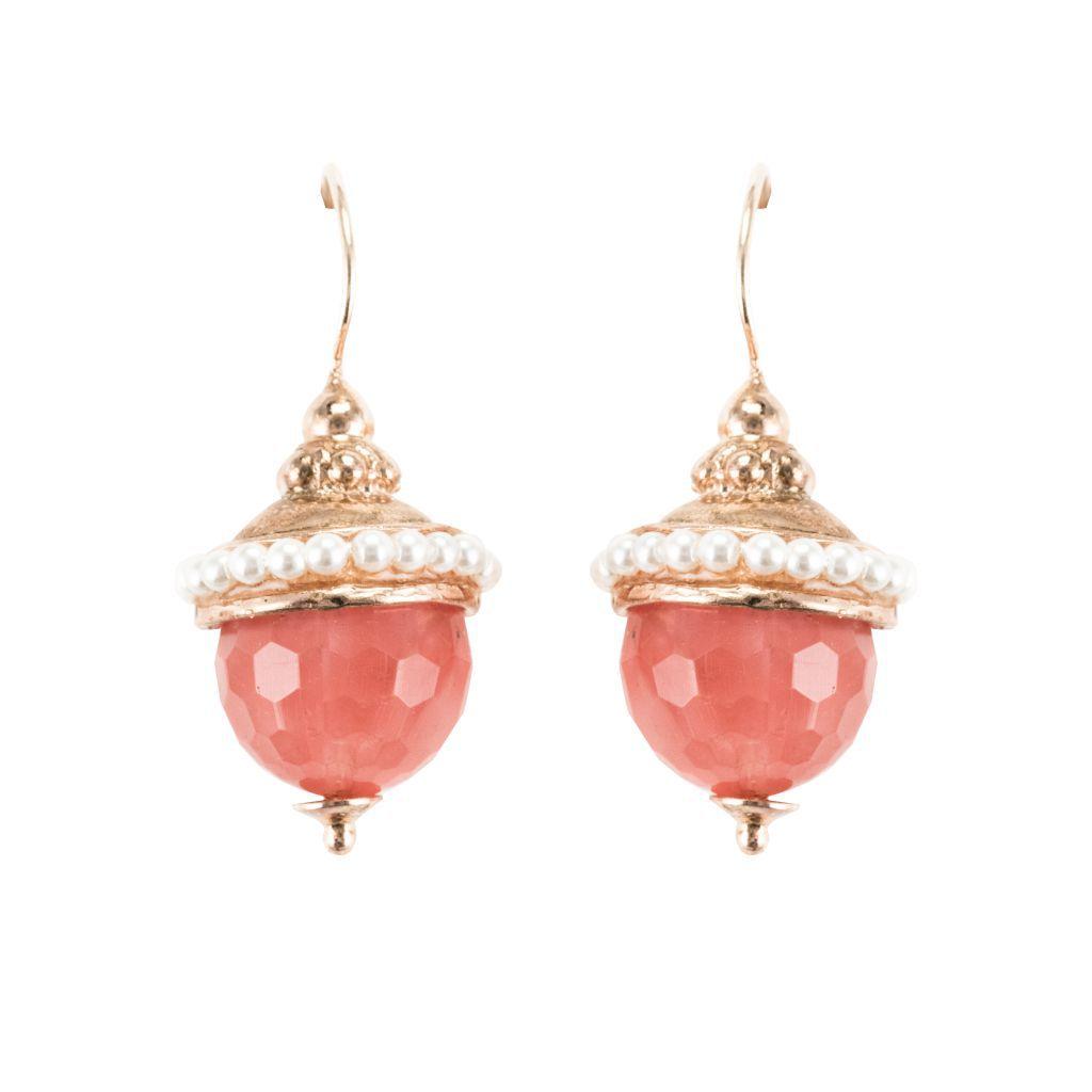 Boucles d 'oreilles dormeuses pierre facetée et perles