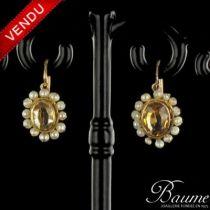 Boucles d 'oreilles Empire Perles fines et Citrines