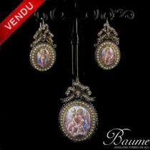 Boucles d 'oreilles et Pendentif miniatures et perles fines