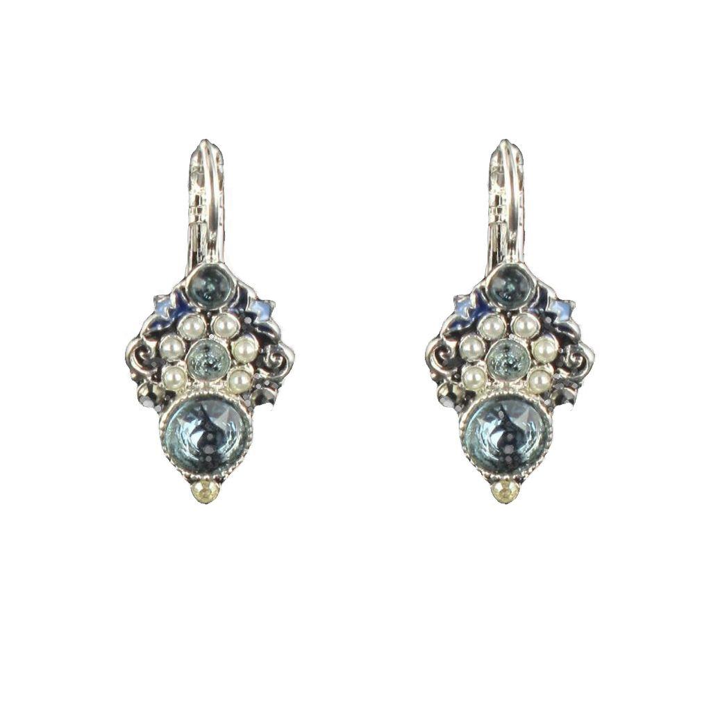 boucles d 39 oreilles dormeuses perles cristaux de swarovski email. Black Bedroom Furniture Sets. Home Design Ideas