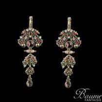 Boucles d 'oreilles fantaisie, Pendantes Email, perles et Cristaux de Swarovski