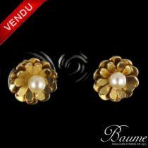 Boucles d 'oreilles Fleur Perles
