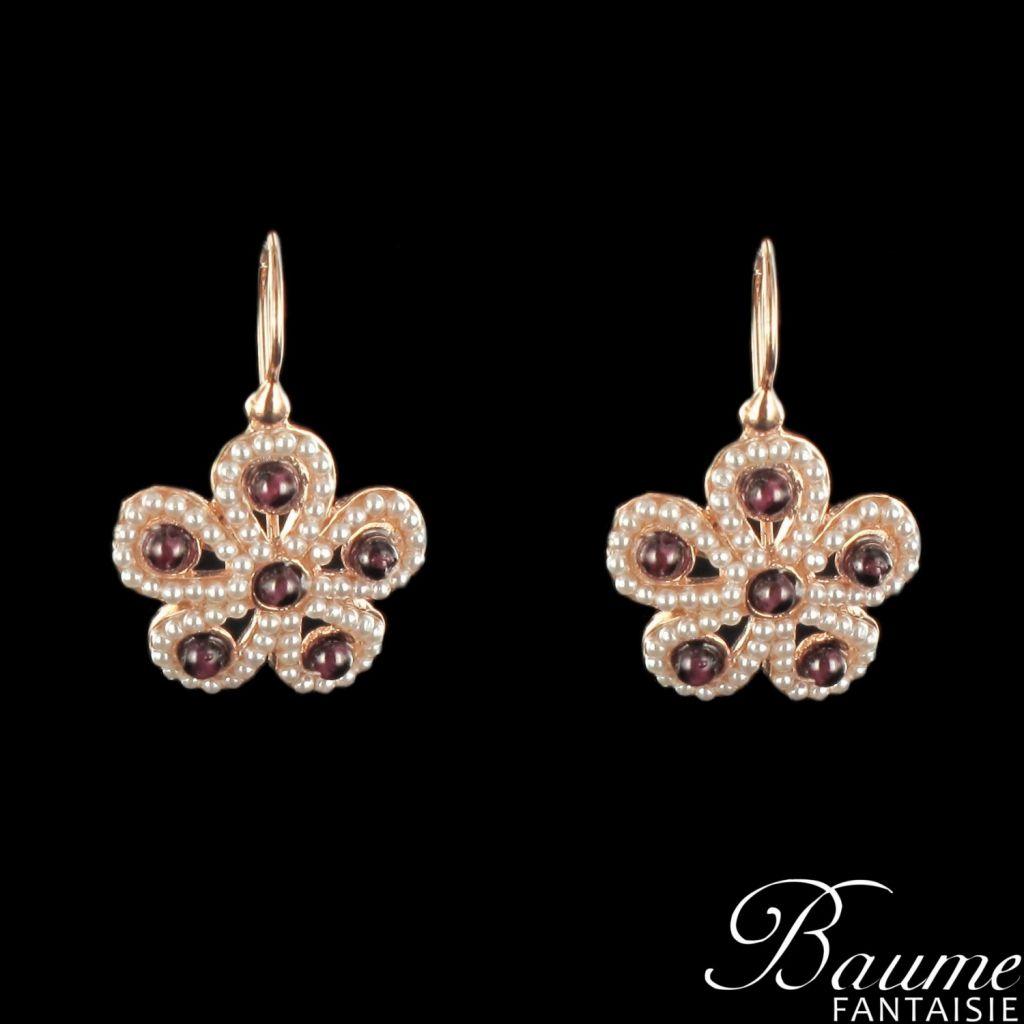 Boucles d 'oreilles fleurs perles XL