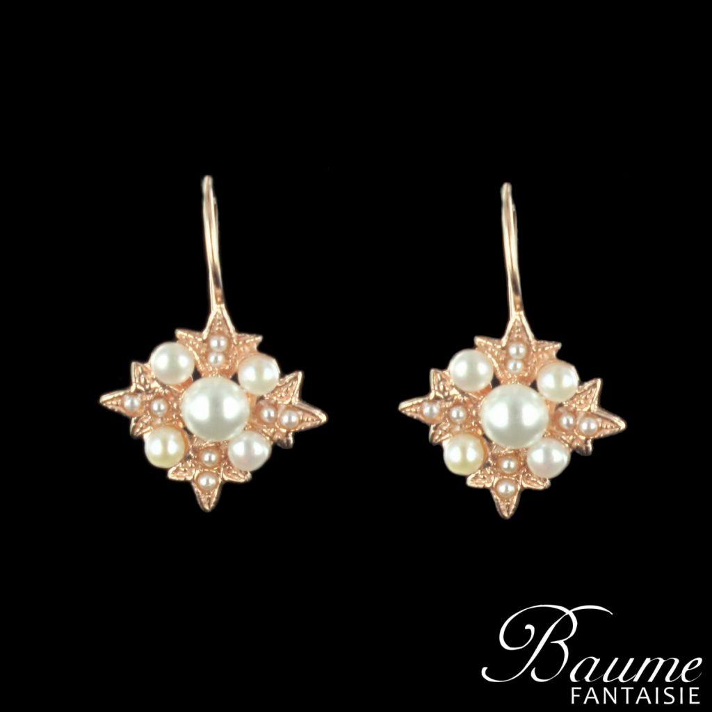 Boucles d 'oreilles flocon perles