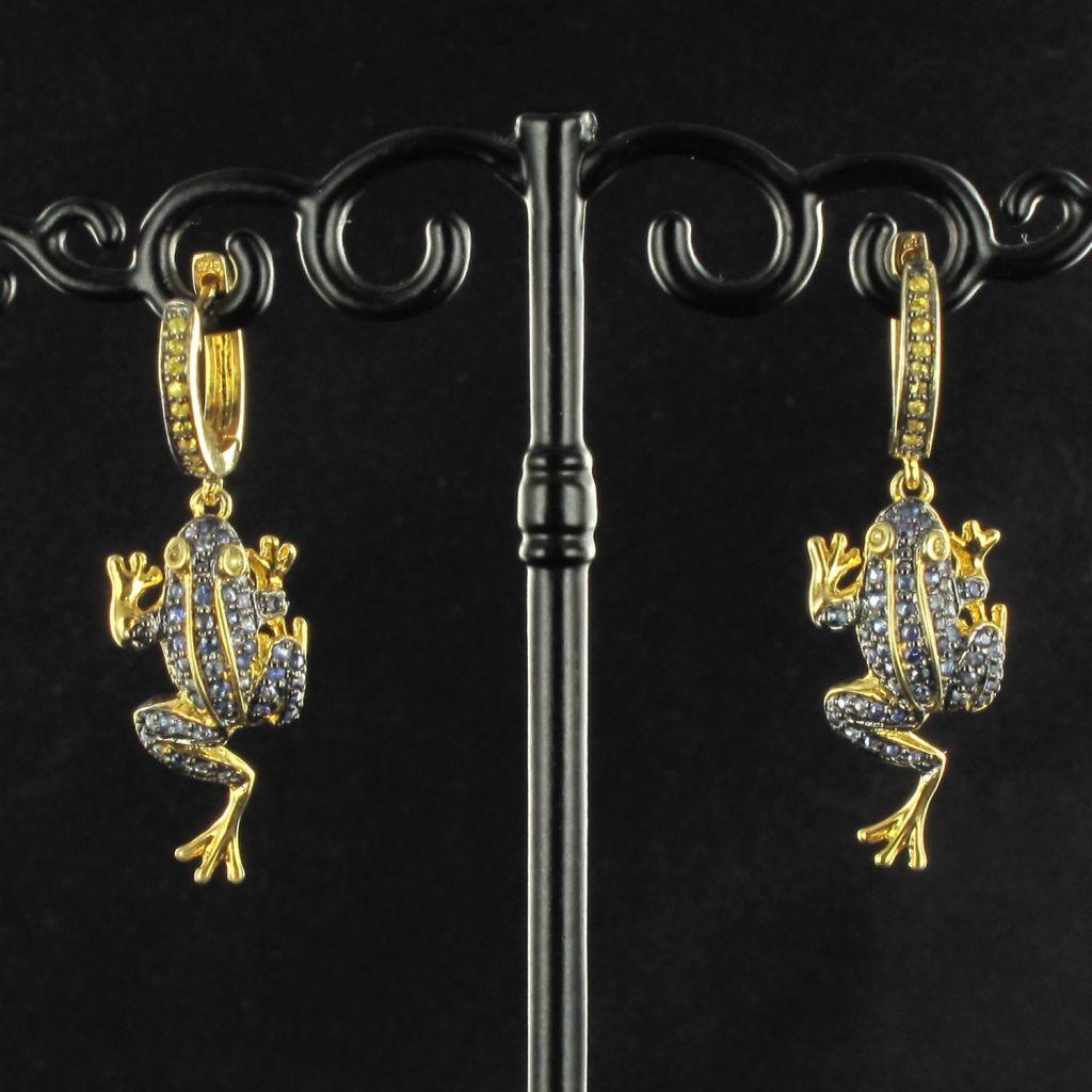 Boucles d 'oreilles grenouille saphirs bleus et jaunes