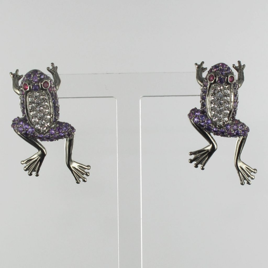 Boucles d 'oreilles grenouilles argent noir améthystes rubis topazes