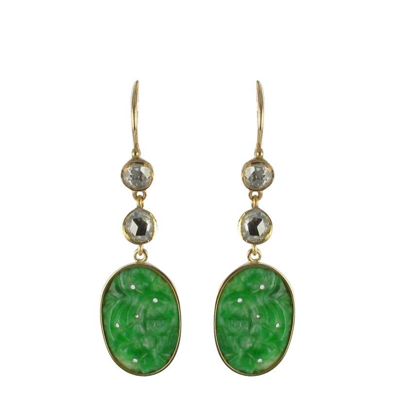 Boucles d 'oreilles jade et diamants