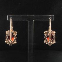 Boucles d 'oreilles losange cristal et perles