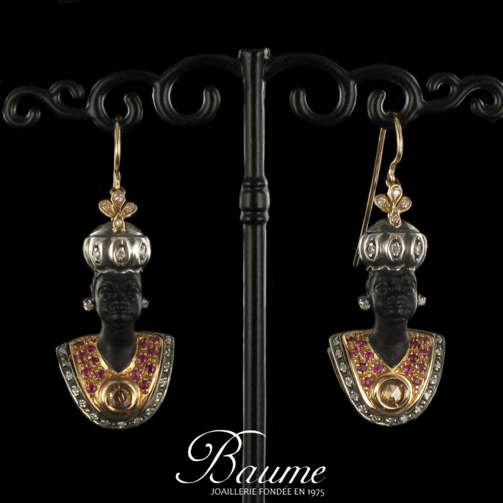 Boucles d 'oreilles Maures Ebène, Diamants et Saphirs
