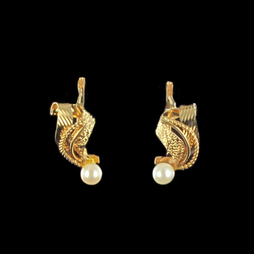 Boucles d 'oreilles or perle