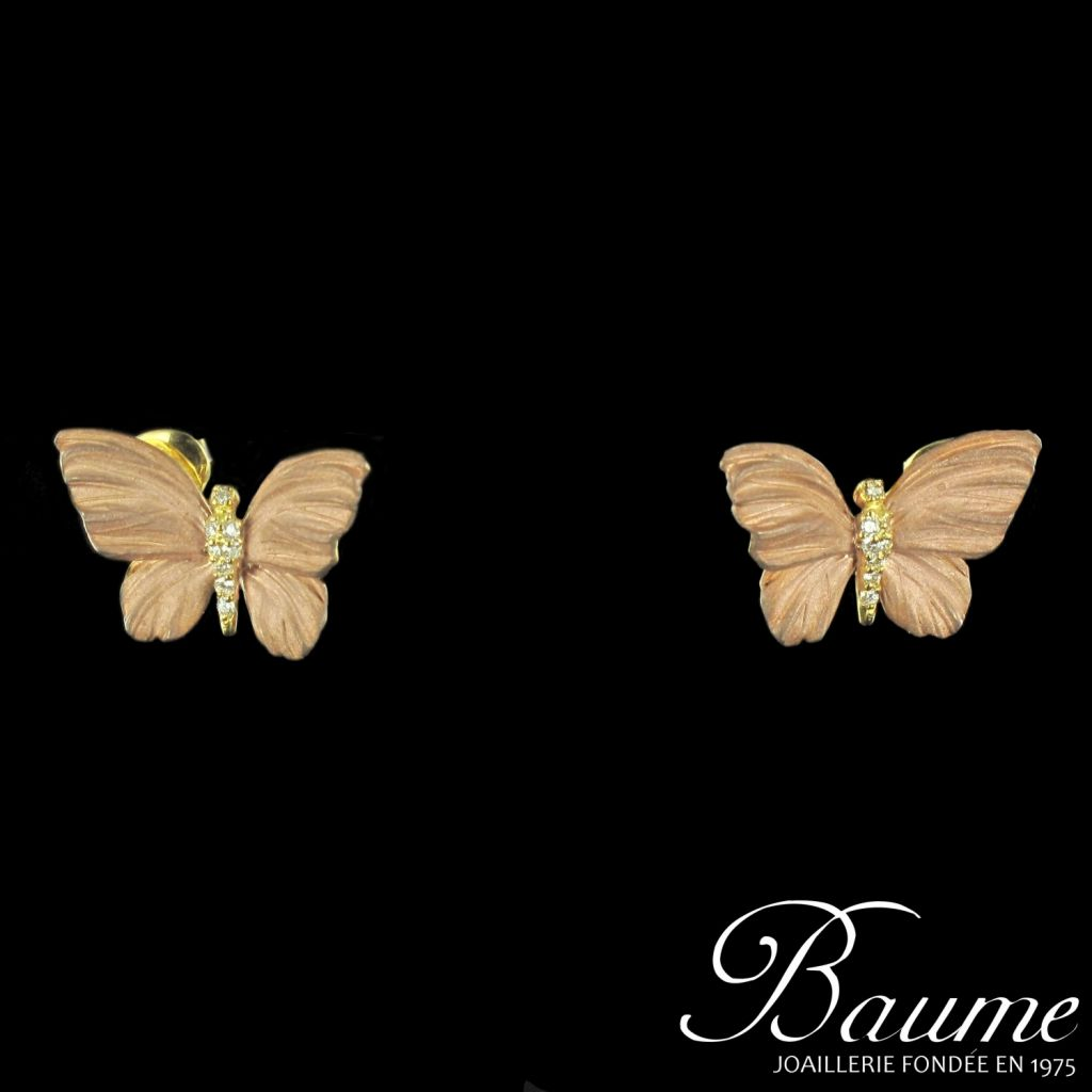 boucles d 39 oreilles papillons mail diamants bijouxbaume. Black Bedroom Furniture Sets. Home Design Ideas