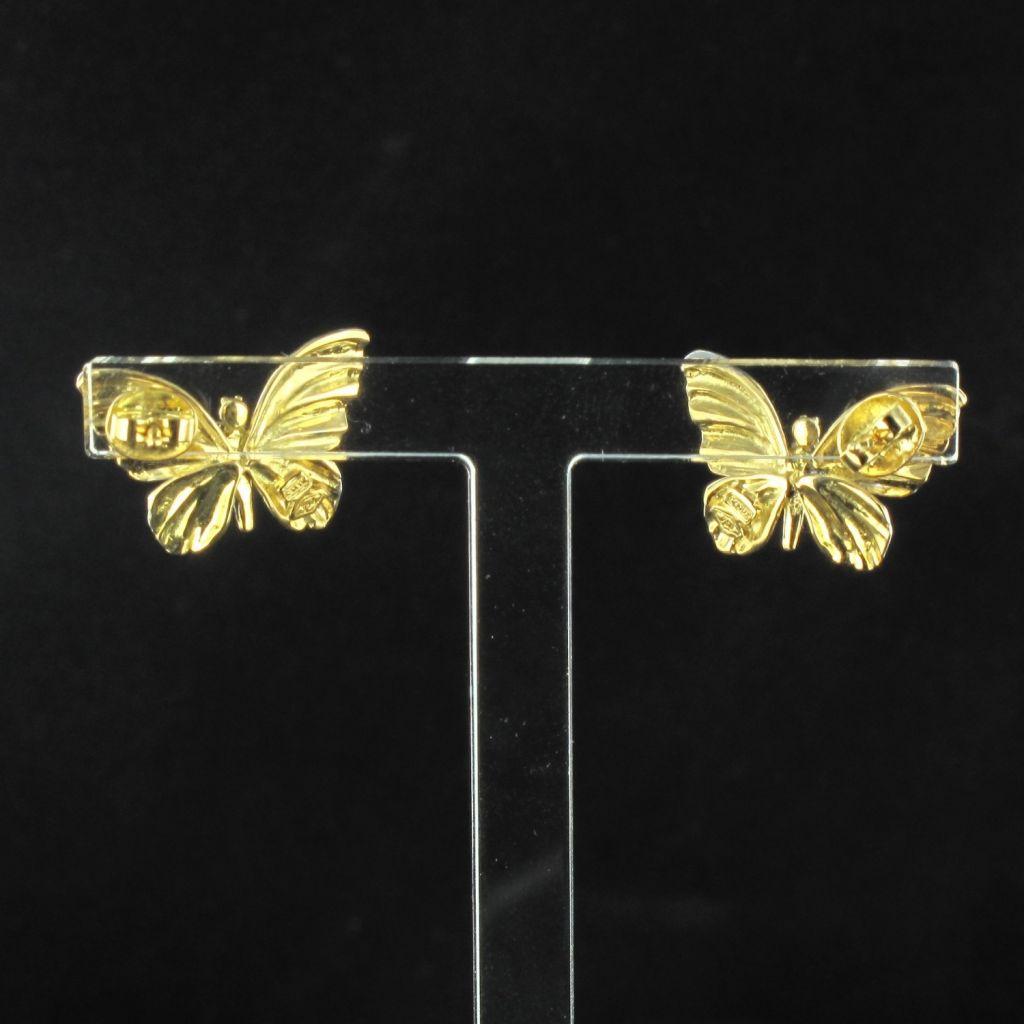 Boucles d 'oreilles papillons émail diamants