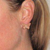 Boucles d 'oreilles papillons en or, émail et diamants