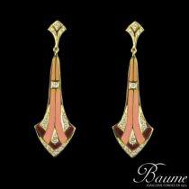 Boucles d 'oreilles pendantes émail et diamants