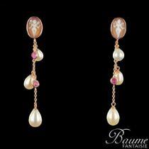 Boucles d 'oreilles pendantes perles et camée