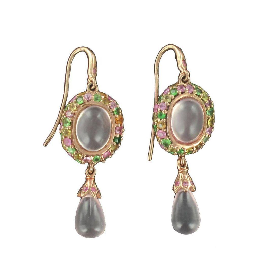 boucles d 39 oreilles pendantes quartz roses saphirs grenats. Black Bedroom Furniture Sets. Home Design Ideas