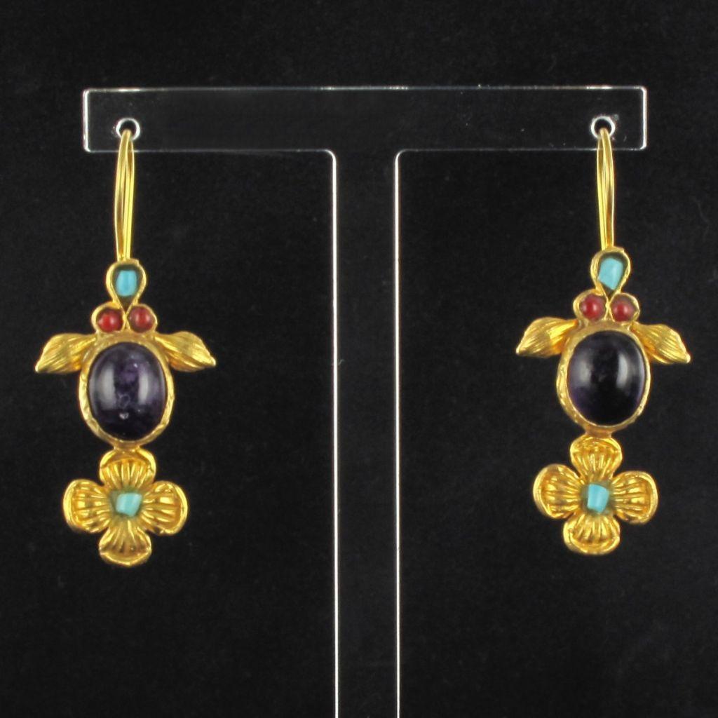 Boucles d 'oreilles pendants pierres et émail