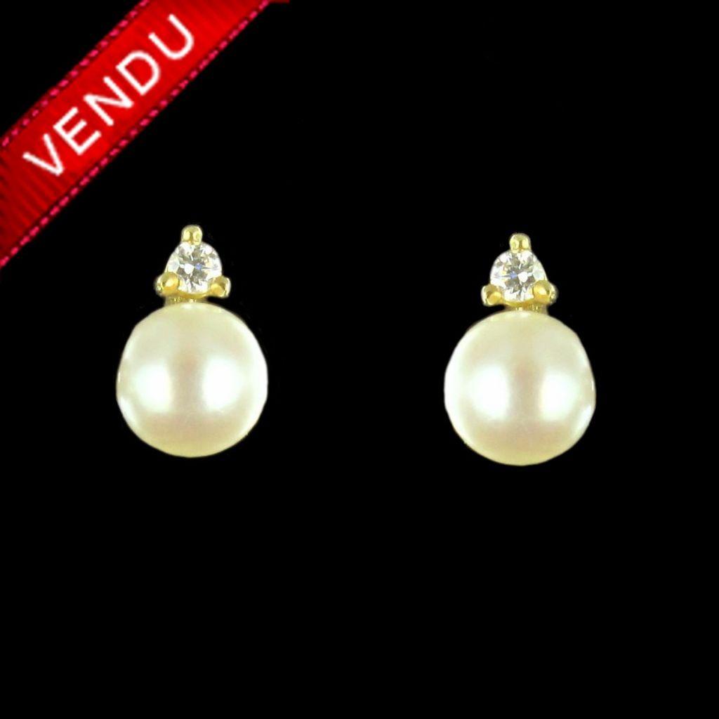 Boucles d 'oreilles perle et diamant