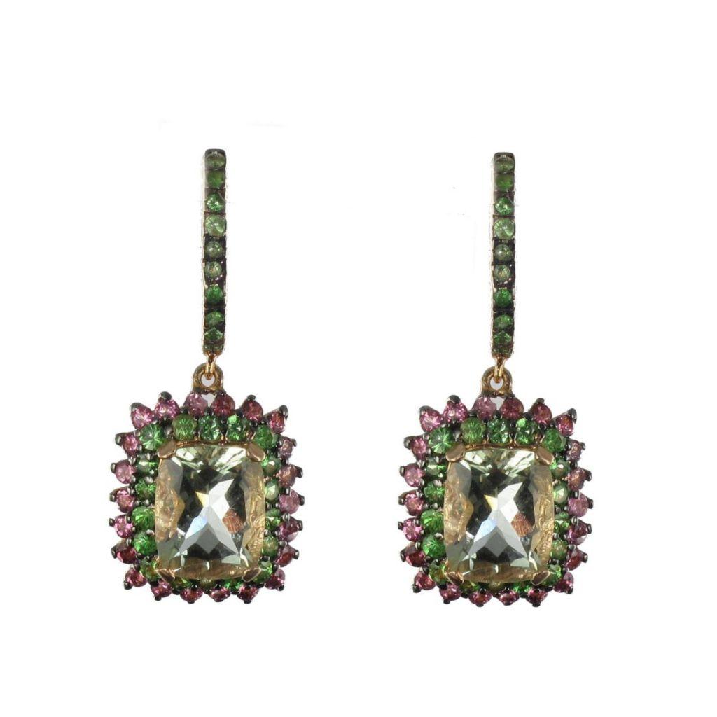 Boucles d 'oreilles quartz verts saphirs roses et grenats