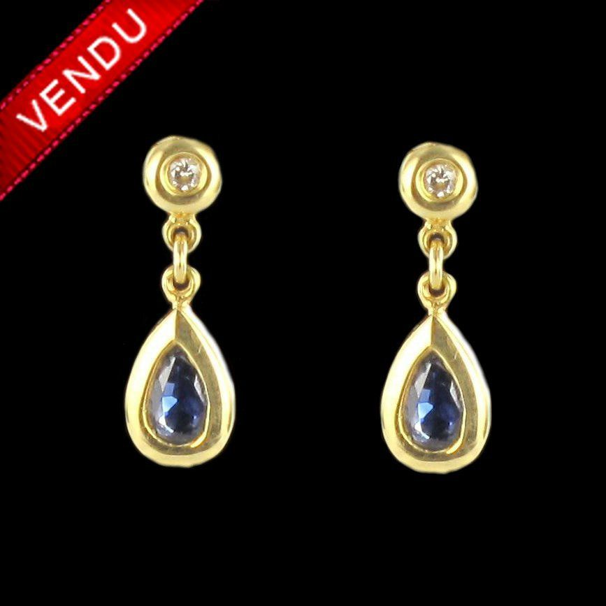 Boucles d 'oreilles saphir et diamant pendantes