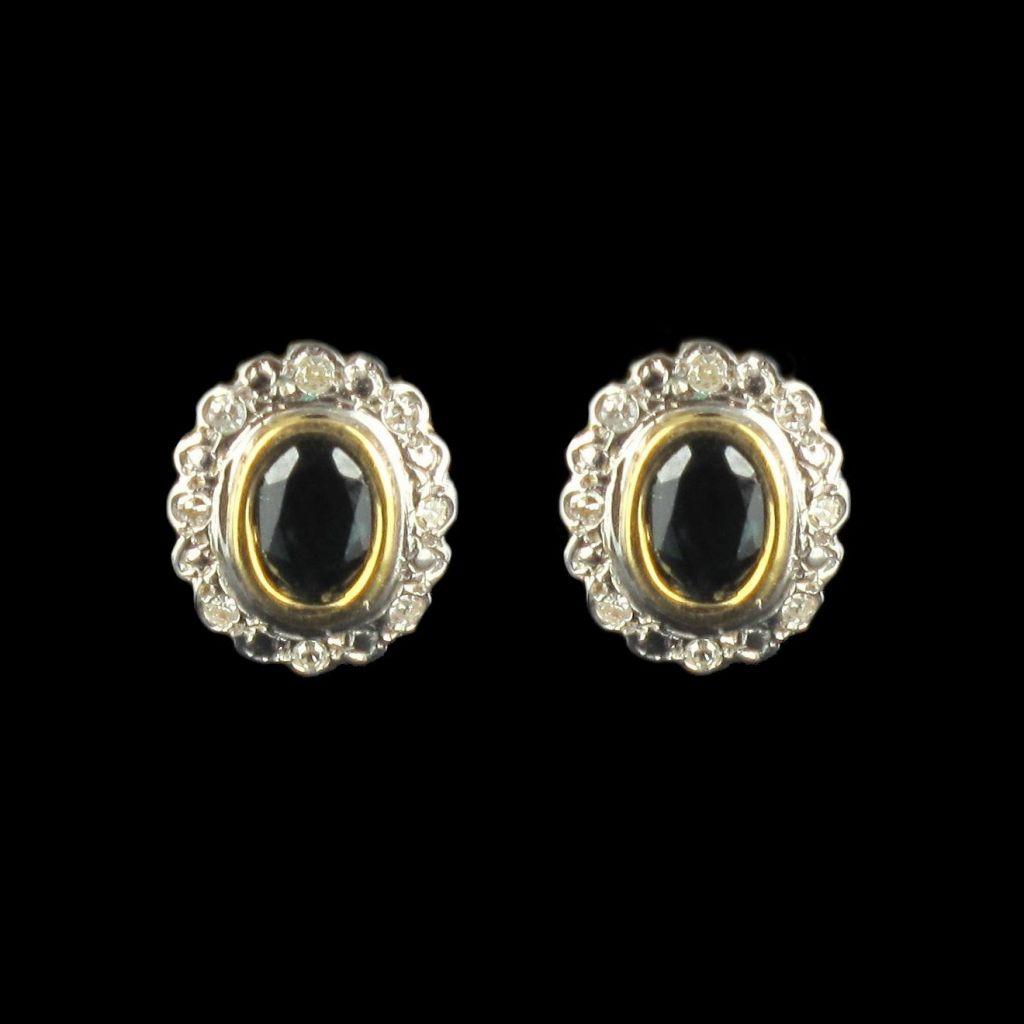 Boucles d 'oreilles saphirs et diamants marguerite