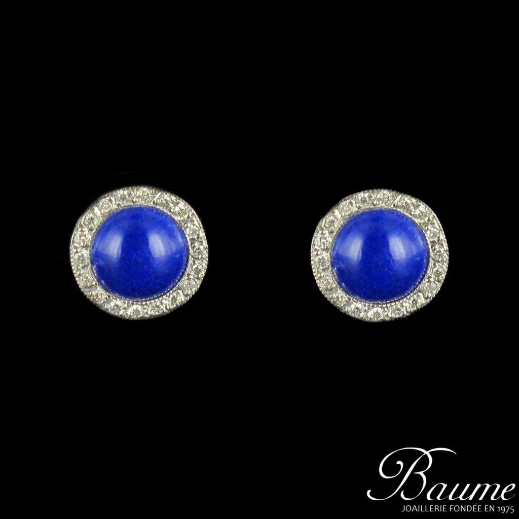 Boucles d 'oreilles sodalite et diamants
