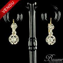 Boucles d 'oreilles trembleuses diamants or jaune et platine