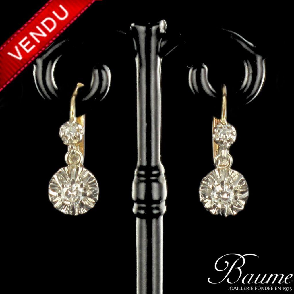 Boucles d 'oreilles trembleuses diamants or rose et platine