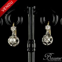 Boucles d 'oreilles Trembleuses Diamants Platine et Or