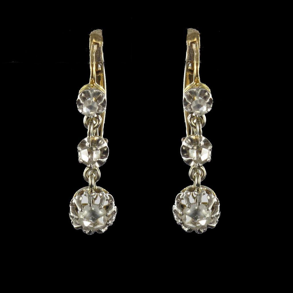 Boucles d 'oreilles trembleuses diamants taillés en rose